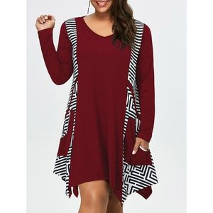 Plus Size Long Sleeve T-Shirt Dress with Pockets